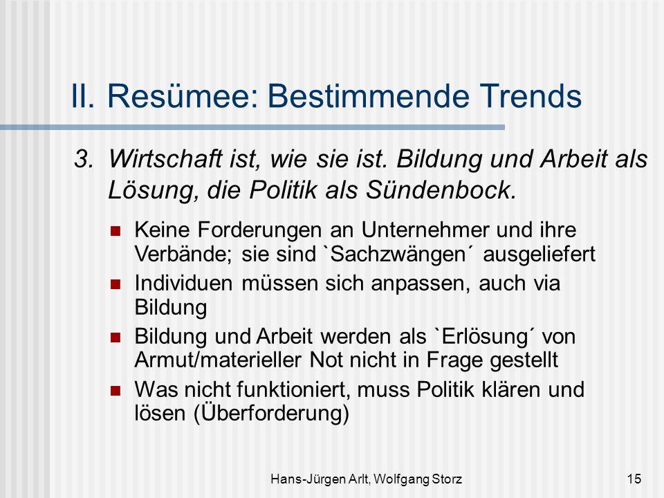 Hans-Jürgen Arlt, Wolfgang Storz15 II. Resümee: Bestimmende Trends 3.Wirtschaft ist, wie sie ist. Bildung und Arbeit als Lösung, die Politik als Sünde
