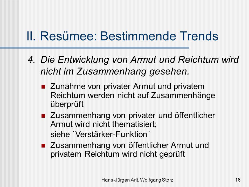 Hans-Jürgen Arlt, Wolfgang Storz16 II. Resümee: Bestimmende Trends 4.Die Entwicklung von Armut und Reichtum wird nicht im Zusammenhang gesehen. Zunahm