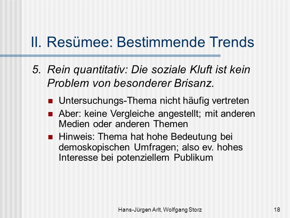 Hans-Jürgen Arlt, Wolfgang Storz18 II. Resümee: Bestimmende Trends 5.Rein quantitativ: Die soziale Kluft ist kein Problem von besonderer Brisanz. Unte
