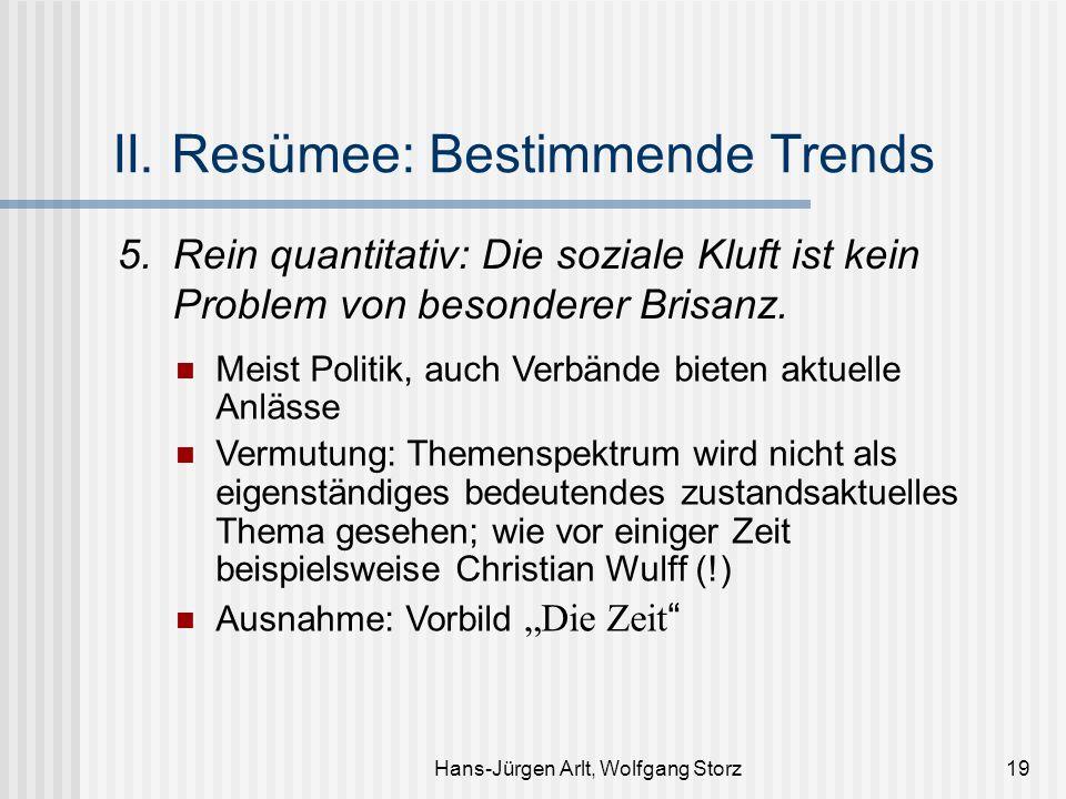 Hans-Jürgen Arlt, Wolfgang Storz19 II. Resümee: Bestimmende Trends 5.Rein quantitativ: Die soziale Kluft ist kein Problem von besonderer Brisanz. Meis