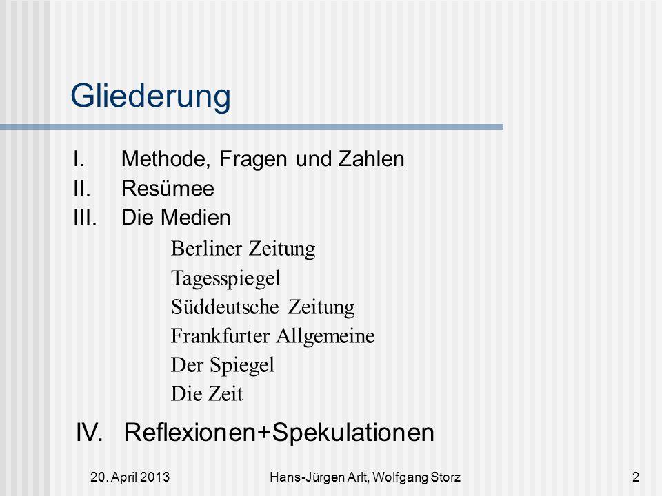 20. April 2013Hans-Jürgen Arlt, Wolfgang Storz2 Gliederung I. Methode, Fragen und Zahlen II. Resümee III. Die Medien Berliner Zeitung Tagesspiegel Süd
