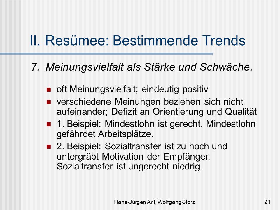 Hans-Jürgen Arlt, Wolfgang Storz21 II. Resümee: Bestimmende Trends 7.Meinungsvielfalt als Stärke und Schwäche. oft Meinungsvielfalt; eindeutig positiv