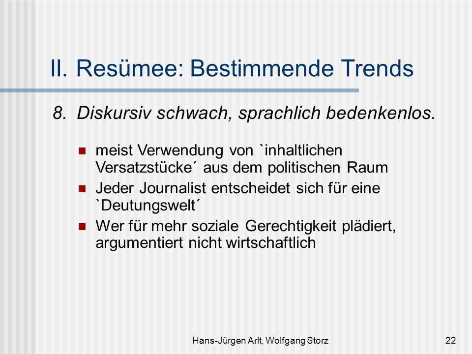 Hans-Jürgen Arlt, Wolfgang Storz22 II. Resümee: Bestimmende Trends 8.Diskursiv schwach, sprachlich bedenkenlos. meist Verwendung von `inhaltlichen Ver