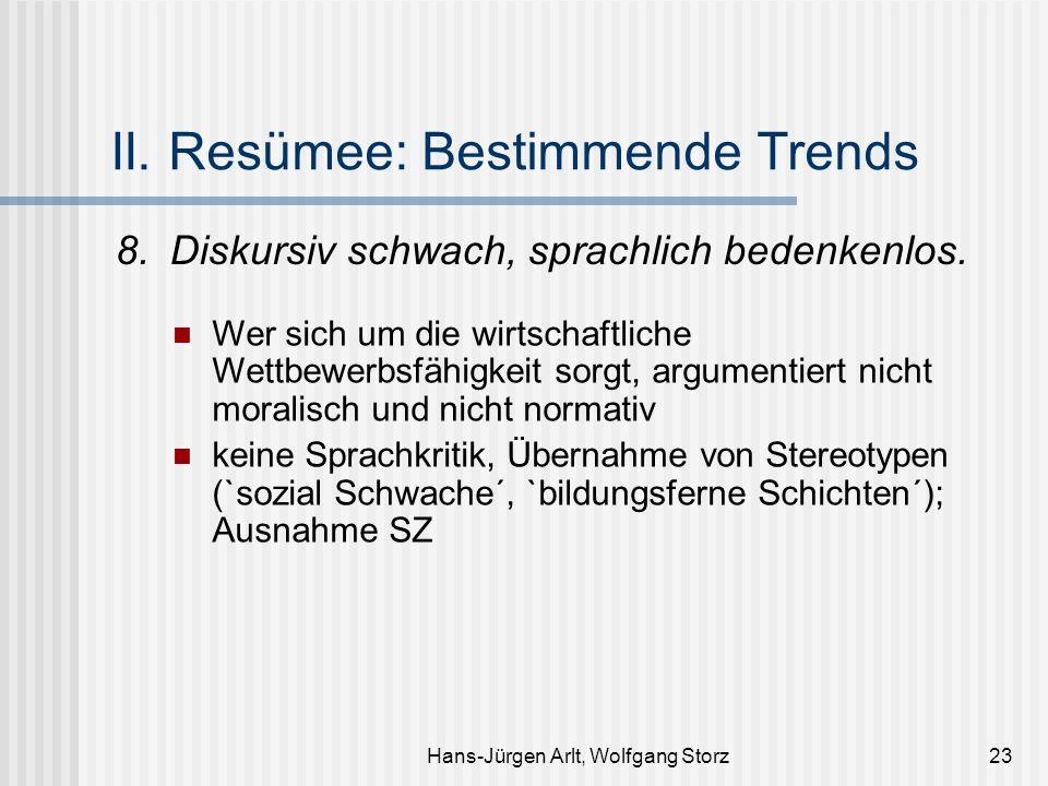 Hans-Jürgen Arlt, Wolfgang Storz23 II. Resümee: Bestimmende Trends 8.Diskursiv schwach, sprachlich bedenkenlos. Wer sich um die wirtschaftliche Wettbe