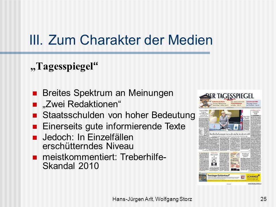 Hans-Jürgen Arlt, Wolfgang Storz25 III. Zum Charakter der Medien Tagesspiegel Breites Spektrum an Meinungen Zwei Redaktionen Staatsschulden von hoher