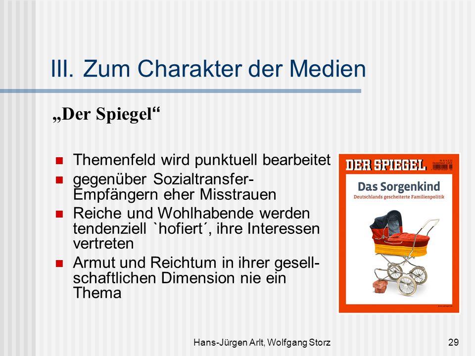 Hans-Jürgen Arlt, Wolfgang Storz29 III. Zum Charakter der Medien Der Spiegel Themenfeld wird punktuell bearbeitet gegenüber Sozialtransfer- Empfängern