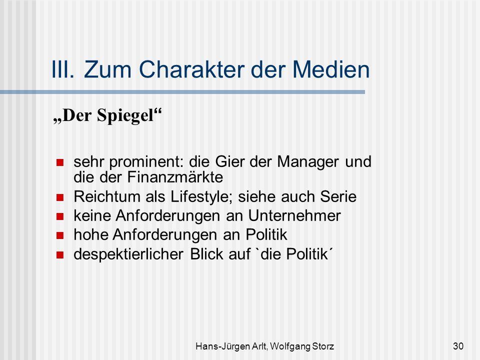 Hans-Jürgen Arlt, Wolfgang Storz30 III. Zum Charakter der Medien Der Spiegel sehr prominent: die Gier der Manager und die der Finanzmärkte Reichtum al