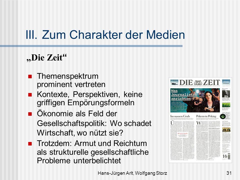 Hans-Jürgen Arlt, Wolfgang Storz31 III. Zum Charakter der Medien Die Zeit Themenspektrum prominent vertreten Kontexte, Perspektiven, keine griffigen E