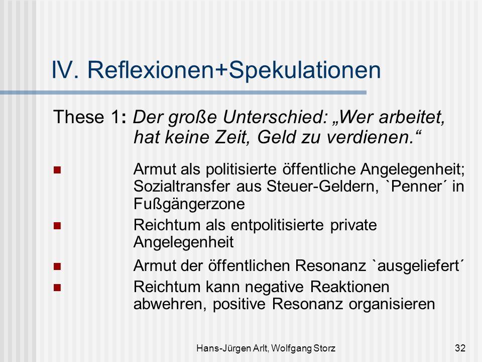Hans-Jürgen Arlt, Wolfgang Storz32 IV. Reflexionen+Spekulationen These 1: Der große Unterschied: Wer arbeitet, hat keine Zeit, Geld zu verdienen. Armu
