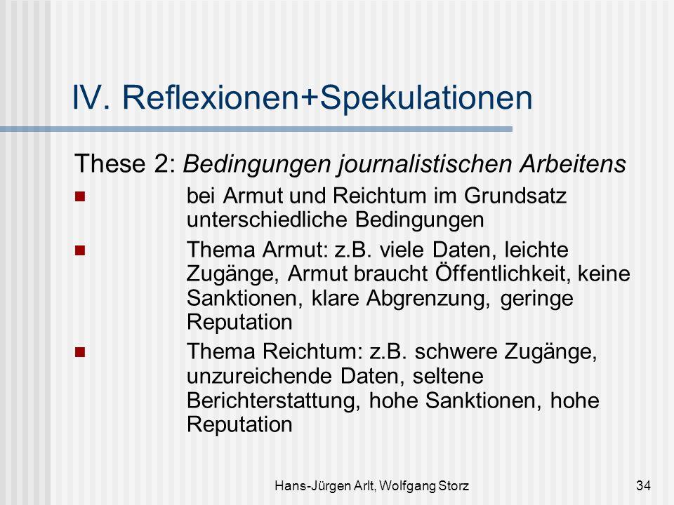 Hans-Jürgen Arlt, Wolfgang Storz34 IV. Reflexionen+Spekulationen These 2: Bedingungen journalistischen Arbeitens bei Armut und Reichtum im Grundsatz u