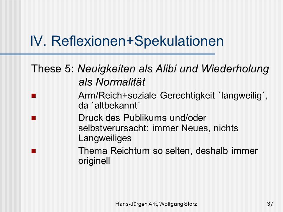 Hans-Jürgen Arlt, Wolfgang Storz37 IV. Reflexionen+Spekulationen These 5: Neuigkeiten als Alibi und Wiederholung als Normalität Arm/Reich+soziale Gere