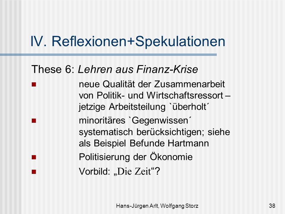 Hans-Jürgen Arlt, Wolfgang Storz38 IV. Reflexionen+Spekulationen These 6: Lehren aus Finanz-Krise neue Qualität der Zusammenarbeit von Politik- und Wi