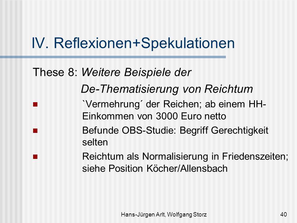 Hans-Jürgen Arlt, Wolfgang Storz40 IV. Reflexionen+Spekulationen These 8: Weitere Beispiele der De-Thematisierung von Reichtum `Vermehrung´ der Reiche