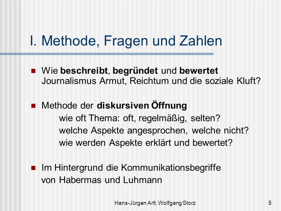 Hans-Jürgen Arlt, Wolfgang Storz5 I. Methode, Fragen und Zahlen Wie beschreibt, begründet und bewertet Journalismus Armut, Reichtum und die soziale Kl