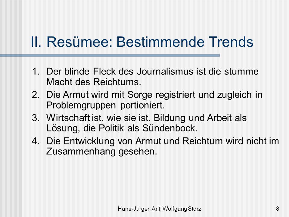 Hans-Jürgen Arlt, Wolfgang Storz8 II. Resümee: Bestimmende Trends 1. Der blinde Fleck des Journalismus ist die stumme Macht des Reichtums. 2. Die Armu