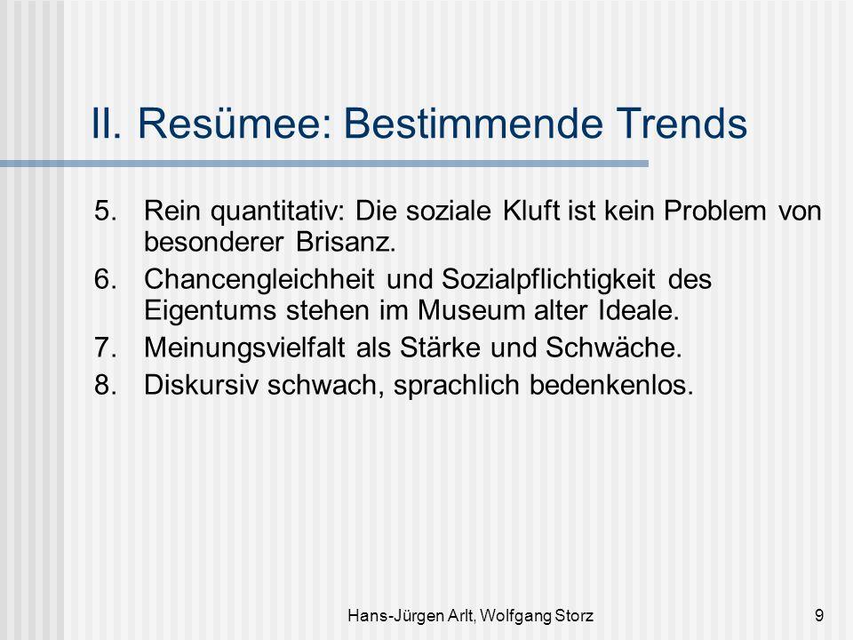 Hans-Jürgen Arlt, Wolfgang Storz9 II. Resümee: Bestimmende Trends 5.Rein quantitativ: Die soziale Kluft ist kein Problem von besonderer Brisanz. 6.Cha