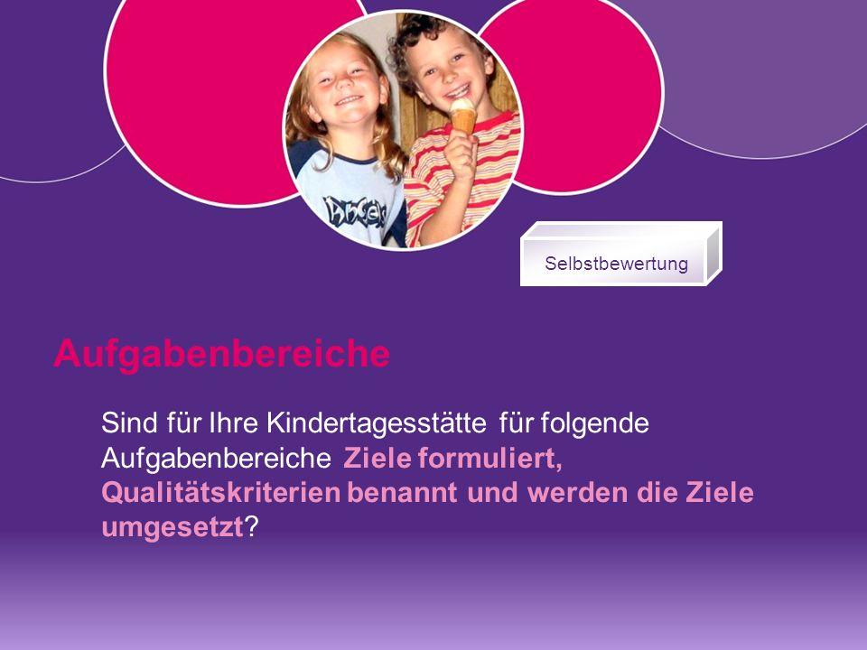 Sind für Ihre Kindertagesstätte für folgende Aufgabenbereiche Ziele formuliert, Qualitätskriterien benannt und werden die Ziele umgesetzt.