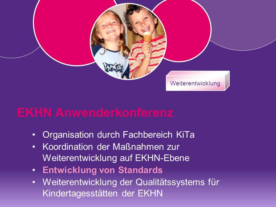 Weiterentwicklung EKHN Anwenderkonferenz Organisation durch Fachbereich KiTa Koordination der Maßnahmen zur Weiterentwicklung auf EKHN-Ebene Entwicklung von Standards Weiterentwicklung der Qualitätssystems für Kindertagesstätten der EKHN