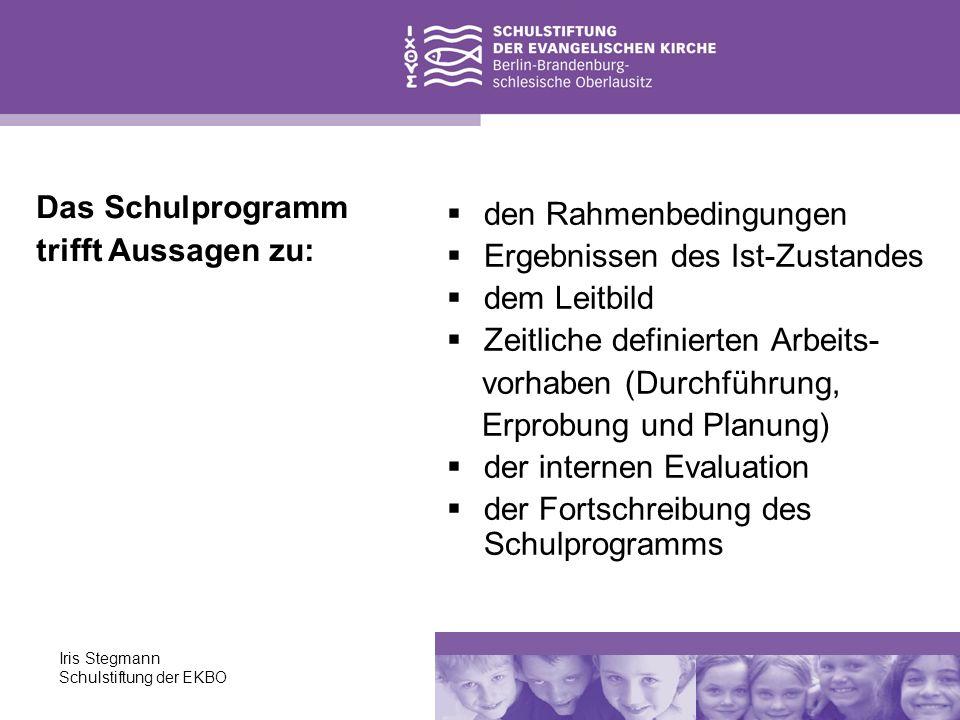 Iris Stegmann Schulstiftung der EKBO den Rahmenbedingungen Ergebnissen des Ist-Zustandes dem Leitbild Zeitliche definierten Arbeits- vorhaben (Durchfü
