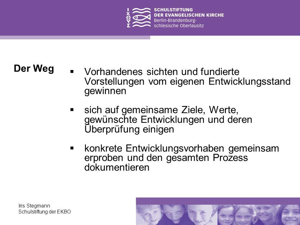 Iris Stegmann Schulstiftung der EKBO Vorhandenes sichten und fundierte Vorstellungen vom eigenen Entwicklungsstand gewinnen sich auf gemeinsame Ziele,