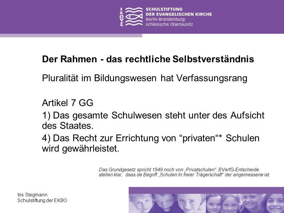 Iris Stegmann Schulstiftung der EKBO Der Rahmen - das rechtliche Selbstverständnis Pluralität im Bildungswesen hat Verfassungsrang Artikel 7 GG 1) Das
