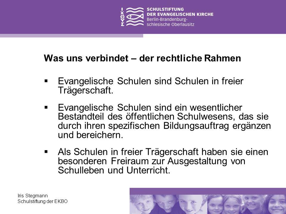 Iris Stegmann Schulstiftung der EKBO Was uns verbindet – der rechtliche Rahmen Evangelische Schulen sind Schulen in freier Trägerschaft. Evangelische