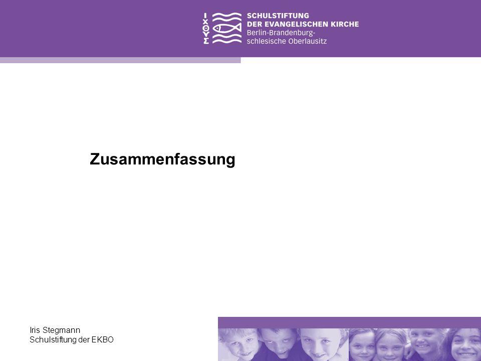 Iris Stegmann Schulstiftung der EKBO Zusammenfassung