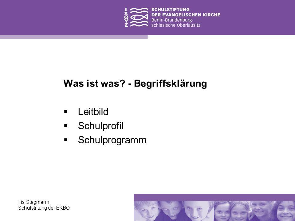Iris Stegmann Schulstiftung der EKBO Vorhandenes sichten und fundierte Vorstellungen vom eigenen Entwicklungsstand gewinnen sich auf gemeinsame Ziele, Werte, gewünschte Entwicklungen und deren Überprüfung einigen konkrete Entwicklungsvorhaben gemeinsam erproben und den gesamten Prozess dokumentieren Der Weg