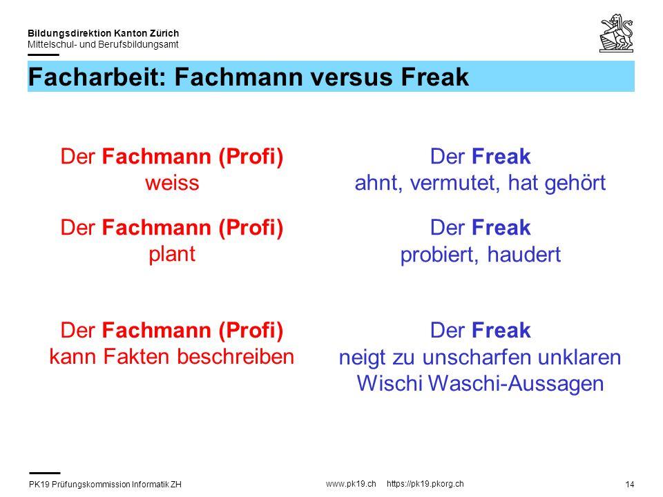 PK19 Prüfungskommission Informatik ZH www.pk19.ch https://pk19.pkorg.ch Bildungsdirektion Kanton Zürich Mittelschul- und Berufsbildungsamt 14 Facharbe