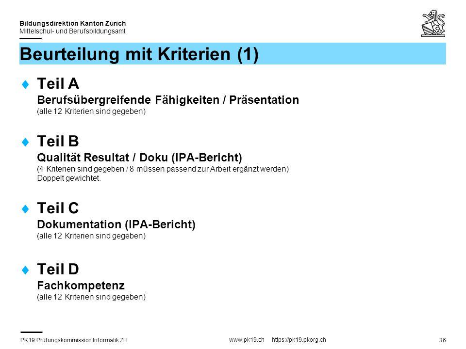 PK19 Prüfungskommission Informatik ZH www.pk19.ch https://pk19.pkorg.ch Bildungsdirektion Kanton Zürich Mittelschul- und Berufsbildungsamt 36 Beurteil