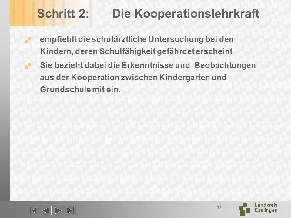 Landkreis Esslingen 11 Schritt 2: Die Kooperationslehrkraft empfiehlt die schulärztliche Untersuchung bei den Kindern, deren Schulfähigkeit gefährdet erscheint Sie bezieht dabei die Erkenntnisse und Beobachtungen aus der Kooperation zwischen Kindergarten und Grundschule mit ein.