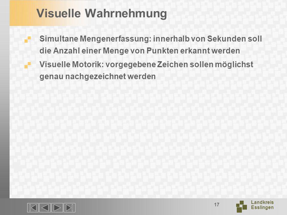 Landkreis Esslingen 17 Visuelle Wahrnehmung Simultane Mengenerfassung: innerhalb von Sekunden soll die Anzahl einer Menge von Punkten erkannt werden Visuelle Motorik: vorgegebene Zeichen sollen möglichst genau nachgezeichnet werden