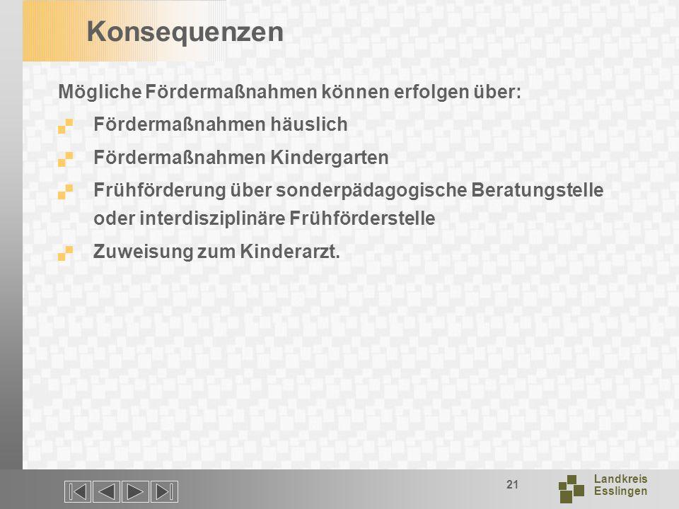 Landkreis Esslingen 21 Konsequenzen Mögliche Fördermaßnahmen können erfolgen über: Fördermaßnahmen häuslich Fördermaßnahmen Kindergarten Frühförderung über sonderpädagogische Beratungstelle oder interdisziplinäre Frühförderstelle Zuweisung zum Kinderarzt.