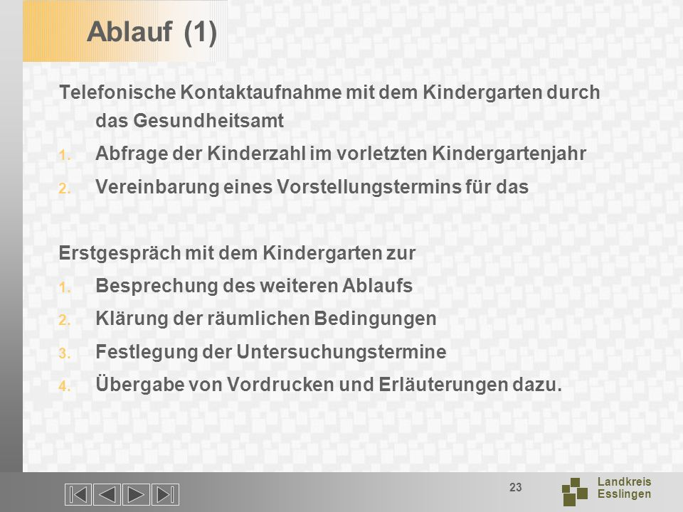 Landkreis Esslingen 23 Ablauf (1) Telefonische Kontaktaufnahme mit dem Kindergarten durch das Gesundheitsamt 1.