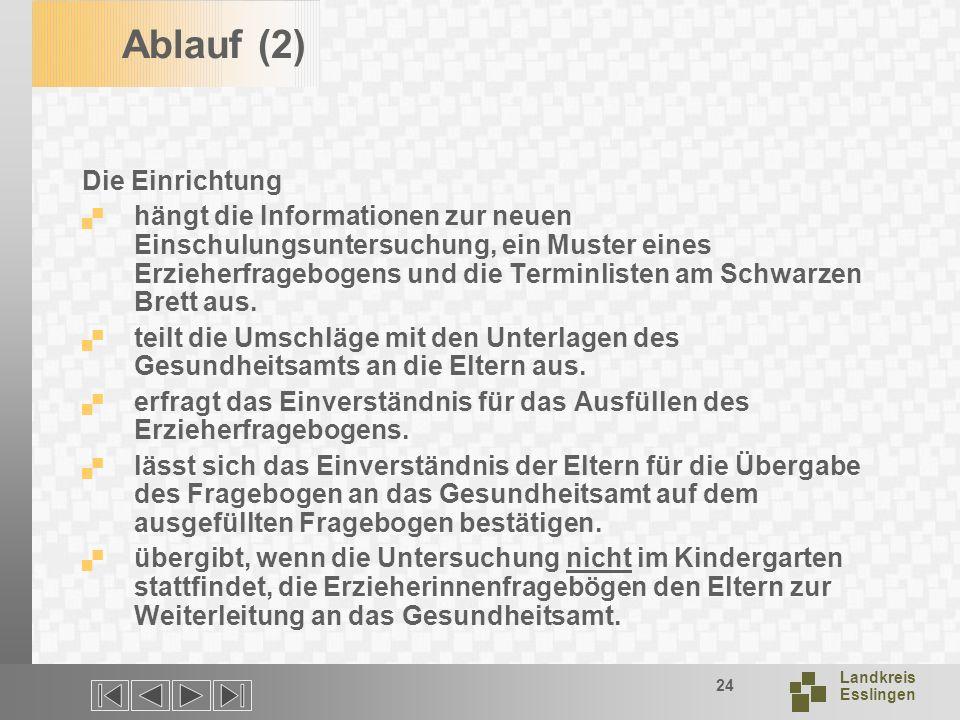 Landkreis Esslingen 24 Ablauf (2) Die Einrichtung hängt die Informationen zur neuen Einschulungsuntersuchung, ein Muster eines Erzieherfragebogens und die Terminlisten am Schwarzen Brett aus.