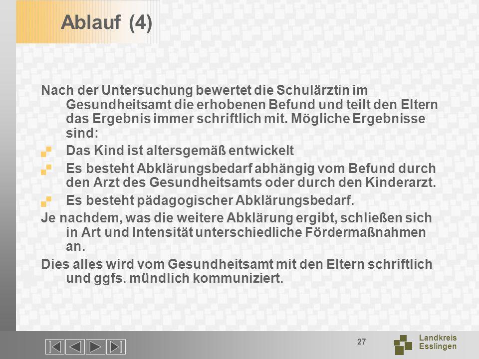Landkreis Esslingen 27 Ablauf (4) Nach der Untersuchung bewertet die Schulärztin im Gesundheitsamt die erhobenen Befund und teilt den Eltern das Ergebnis immer schriftlich mit.