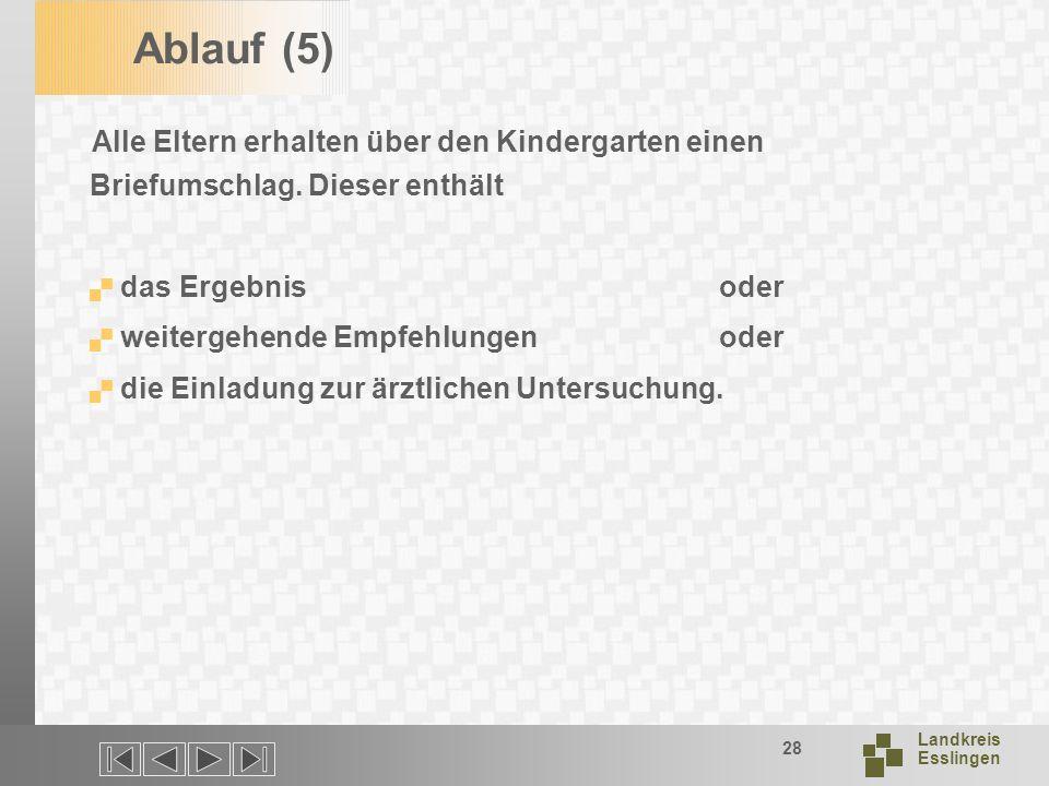Landkreis Esslingen 28 Ablauf (5) Alle Eltern erhalten über den Kindergarten einen Briefumschlag.