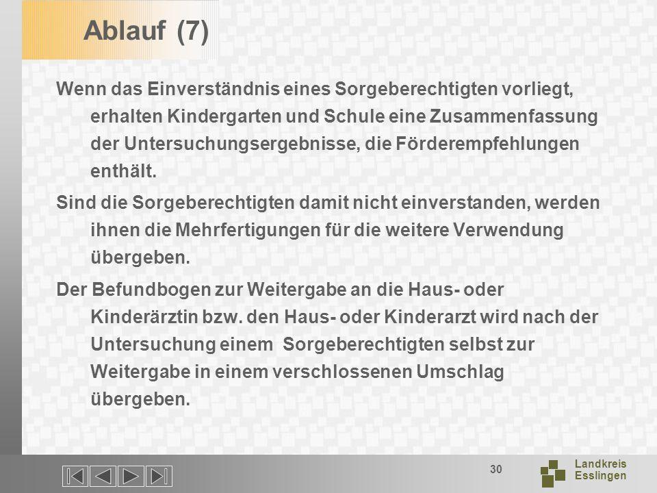 Landkreis Esslingen 30 Ablauf (7) Wenn das Einverständnis eines Sorgeberechtigten vorliegt, erhalten Kindergarten und Schule eine Zusammenfassung der Untersuchungsergebnisse, die Förderempfehlungen enthält.