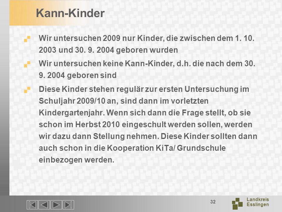 Landkreis Esslingen 32 Kann-Kinder Wir untersuchen 2009 nur Kinder, die zwischen dem 1.