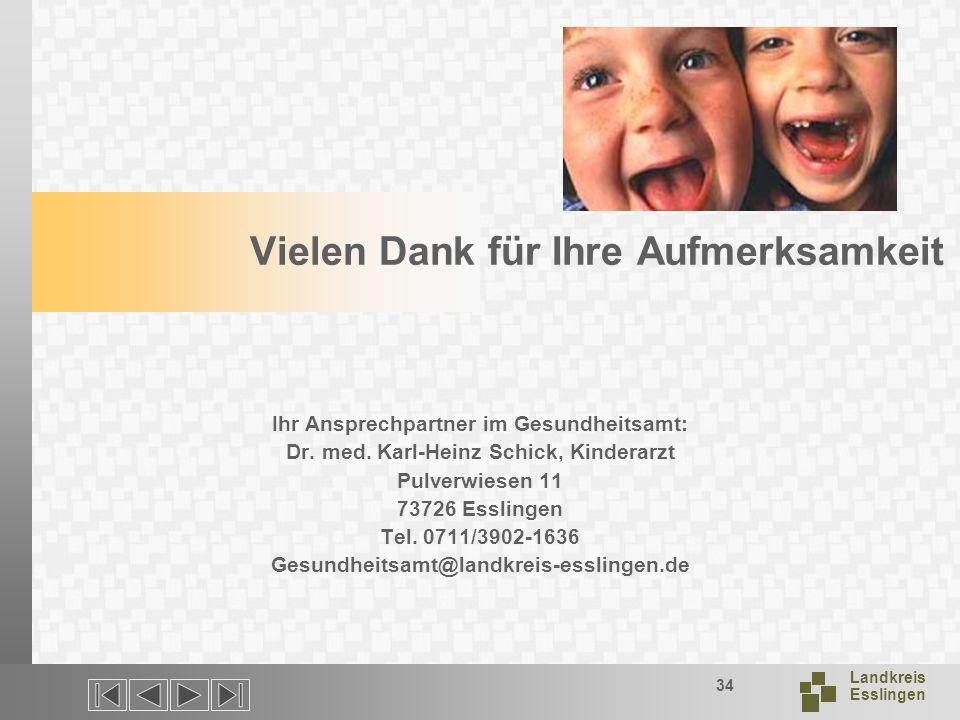 Landkreis Esslingen 34 Vielen Dank für Ihre Aufmerksamkeit Ihr Ansprechpartner im Gesundheitsamt: Dr.