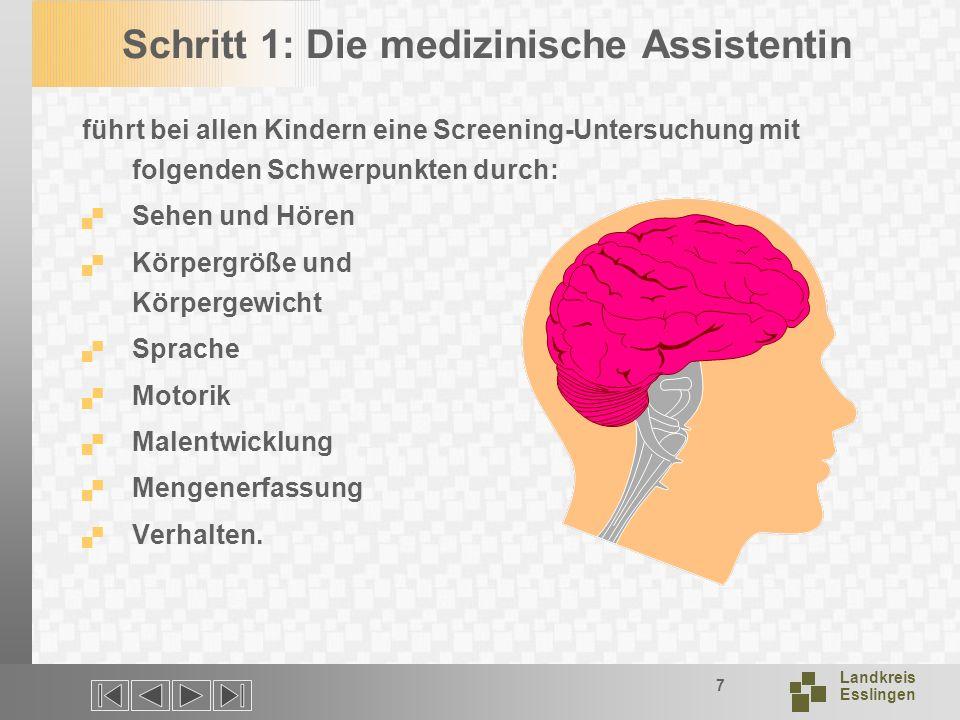 Landkreis Esslingen 7 Schritt 1: Die medizinische Assistentin führt bei allen Kindern eine Screening-Untersuchung mit folgenden Schwerpunkten durch: Sehen und Hören Körpergröße und Körpergewicht Sprache Motorik Malentwicklung Mengenerfassung Verhalten.