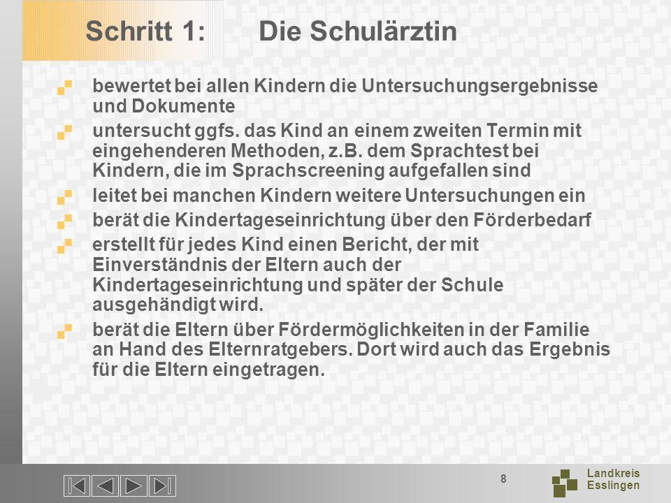 Landkreis Esslingen 8 Schritt 1:Die Schulärztin bewertet bei allen Kindern die Untersuchungsergebnisse und Dokumente untersucht ggfs.