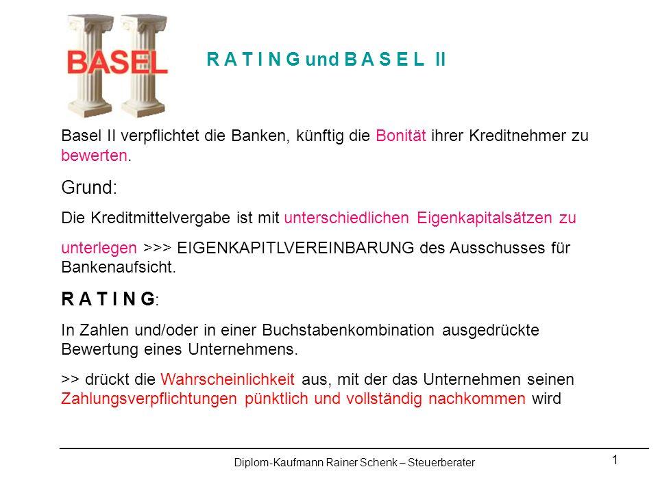 12 R A T I N G und B A S E L II _________________________________________________________________________________________________ Diplom-Kaufmann Rainer Schenk – Steuerberater Heller-Rotter-Schenk Rechtsanwälte und Steuerberater - Meiningen