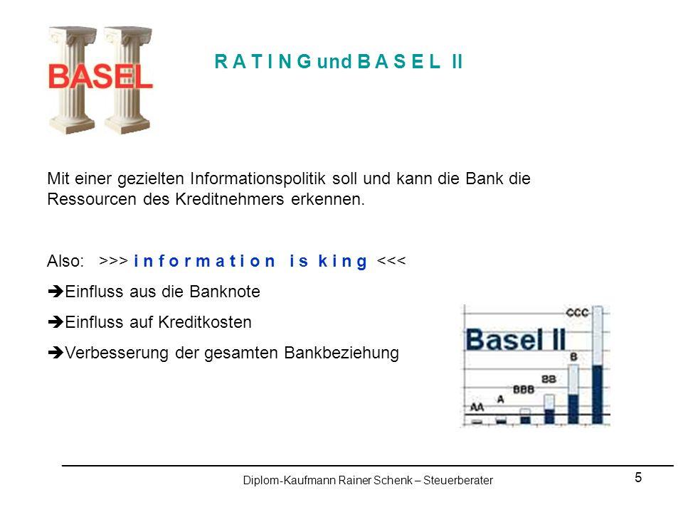 6 R A T I N G und B A S E L II Eigenkapitalunterlegung nach BASEL II: Basel I: Seit 1988 bis dato.