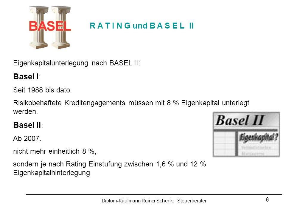 7 R A T I N G und B A S E L II _________________________________________________________________________________________________ Diplom-Kaufmann Rainer Schenk – Steuerberater Kriterien für Risikoeinschätzung Besonders berücksichtigt werden: Finanzielles Risiko Geschäftliches Risiko Managementrisiko Für jeden Bereich gibt es Detailvorschriften zur Beurteilung.