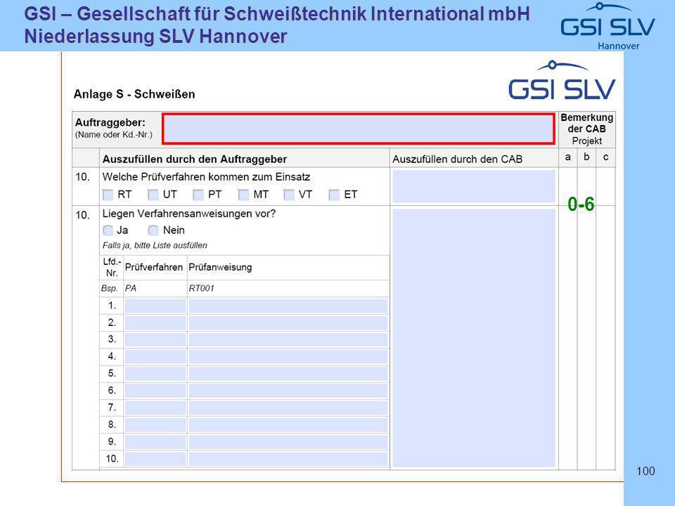 SLVHannoverSLVHannover GSI – Gesellschaft für Schweißtechnik International mbH Niederlassung SLV Hannover 100 0-6