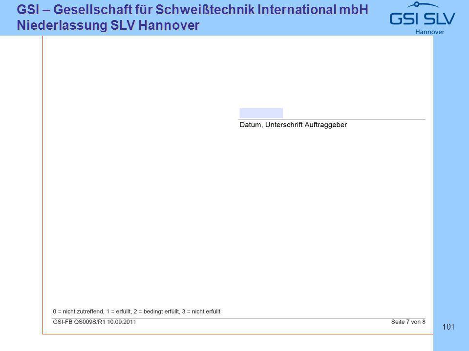 SLVHannoverSLVHannover GSI – Gesellschaft für Schweißtechnik International mbH Niederlassung SLV Hannover 101