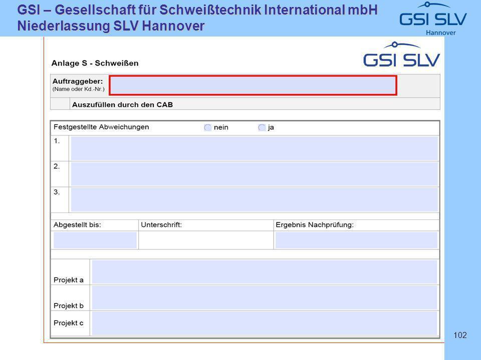 SLVHannoverSLVHannover GSI – Gesellschaft für Schweißtechnik International mbH Niederlassung SLV Hannover 102