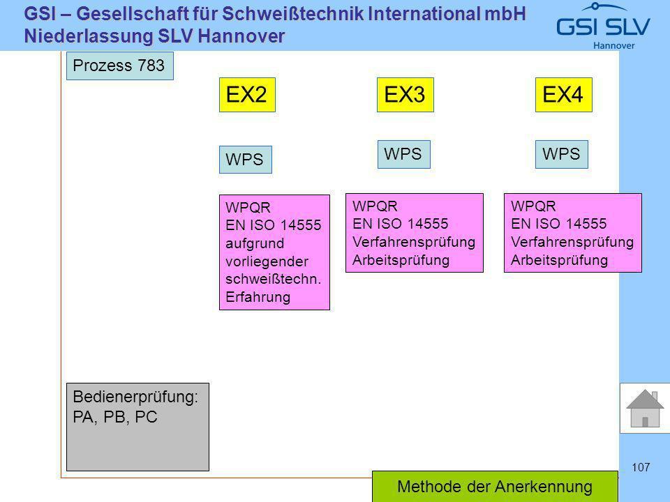 SLVHannoverSLVHannover GSI – Gesellschaft für Schweißtechnik International mbH Niederlassung SLV Hannover 107 Prozess 783 EX2EX3EX4 WPS WPQR EN ISO 14