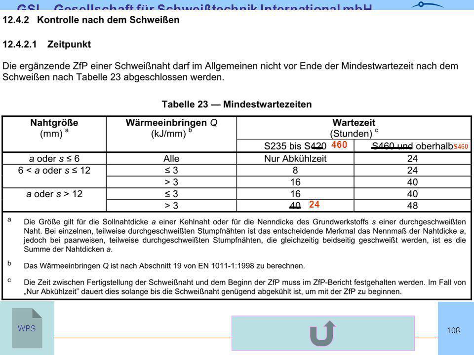 SLVHannoverSLVHannover GSI – Gesellschaft für Schweißtechnik International mbH Niederlassung SLV Hannover 108 WPS 24 460 S460